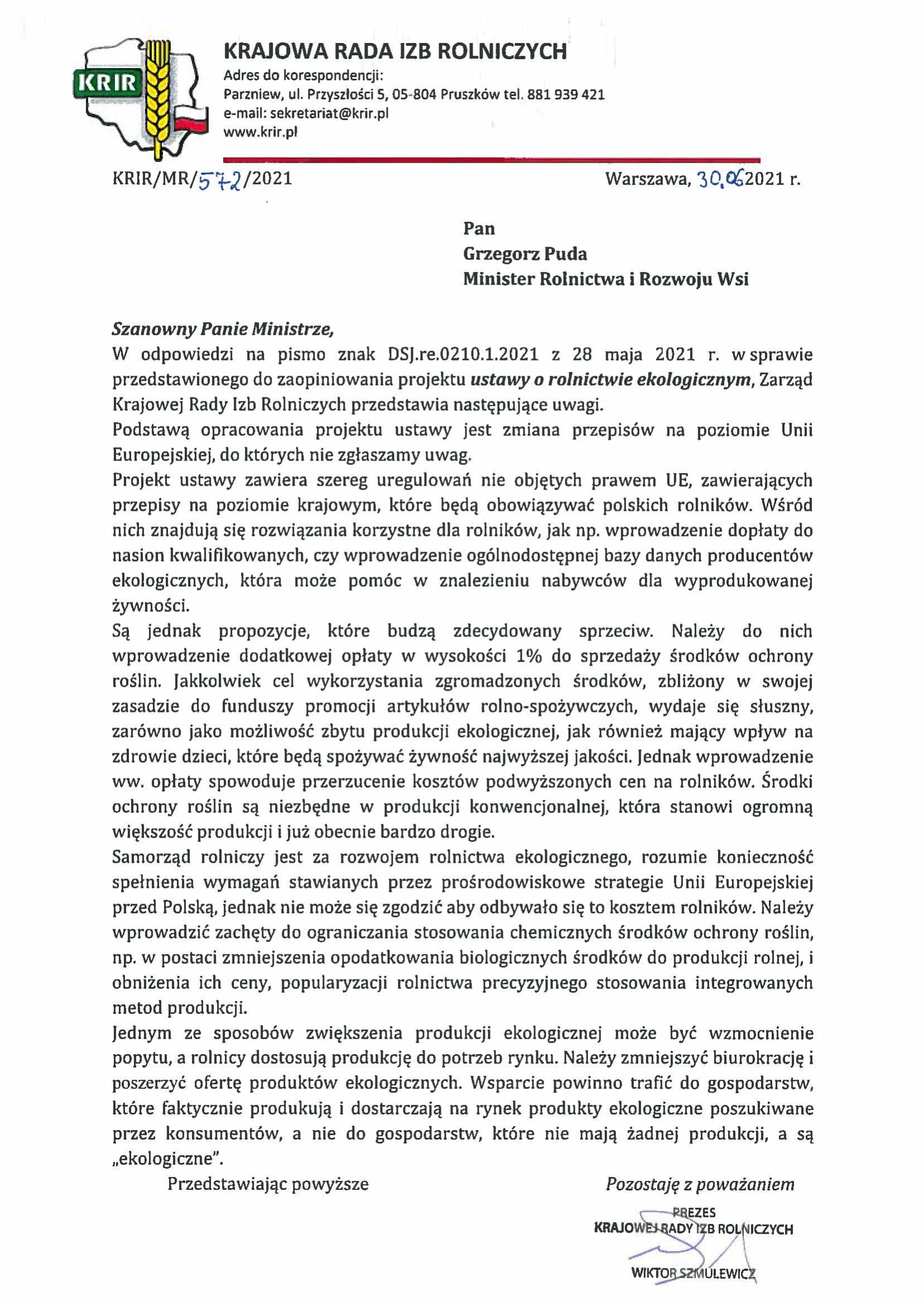 60 2021 ustawa o rol eko opinia KRIR 1